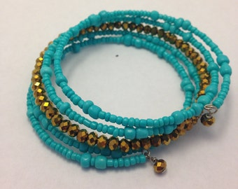 Turquoise and Antique Gold Memory Wire Bracelet