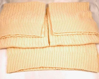 FELTED CASHMERE PIECES Upcycled Sweater Scraps Butter Yellow 1431