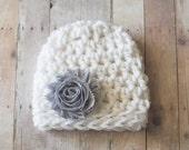 Baby Crochet Hat, Newborn Hat, Girls Hat, Baby Hat, White and Gray Chunky Beanie Hat, Newborn Photo Prop, Girls Baby Hat