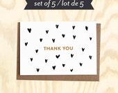 THANK YOU Set of 5 greetings card w/ envelopes