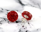 fake plugs, round circle stud earrings, bright red, glitter, sparkle, galaxy, constellation