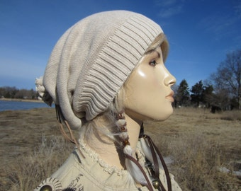 Knit Hat Slouchy Beanie Khaki Tan Women's Beige Leather Wrap Tie Back Tam A1281