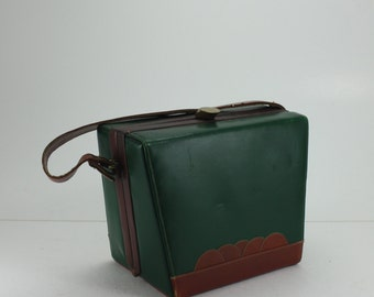 Vintage Leather Handbag Purse Green Tan Box Style 50s 60s