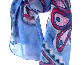 Silk scarf handpainted Handmade scarves Peacock scarf Gift for bride Silk shawl Henna art Blue silk scarf Best selling items Made in Canada