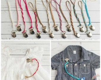BUY one get ONE FREE, Pacifier clip, binky holder, leather braided pacifier clips,baby binky pacifier holder for girls and boys,shower gift.