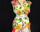 Vintage 60's floral red orange green white purple pink yellow flower power mod Tiki summer sleeveless blouse top zip up mini dress tunic XL