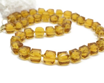 Vintage Square Cube Citrine Necklace Hand Knotted with 14k Gold Filled Lock