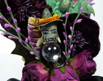 Vintage Halloween Corsage Decoration Spun Cotton Witch Bat Black Purple Roses Velvet Millinery Goth Costume Crystal Ball