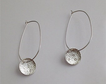 Origin Sterling Silver Earrings Long Hoop Organic Texture Casual Jewelry Gift for her