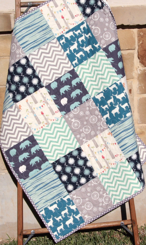 Organic Baby Boy Quilt Blue Teal Grey Gray Birch Fabric Elk