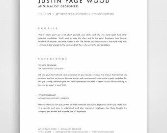 cv template simple resume template professional resume template modern resume minimalist resume