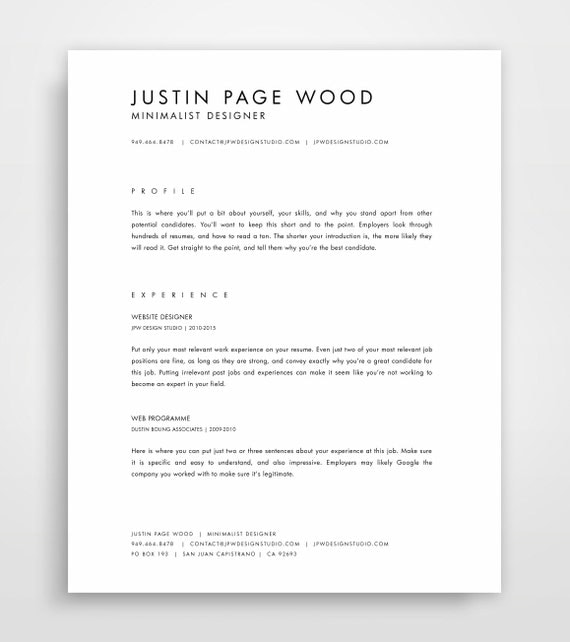 cv template simple resume template professional resume template modern resume minimalist resume cv template cv download - Simple Professional Resume