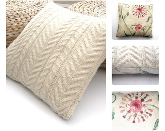 Hand knit Wool Cushion / Pillow Throw . Cream knitted home decor , knitted in unique cable design & pretty flowery linen , zip fastening