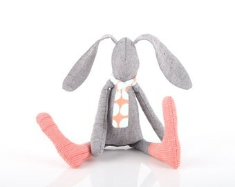 Stuffed SMALL bunny - soft cloth rabbit hare - Animal Doll - softie plush -  bunny toy - Eco Unisex gift for baby shower - gray Peach mint