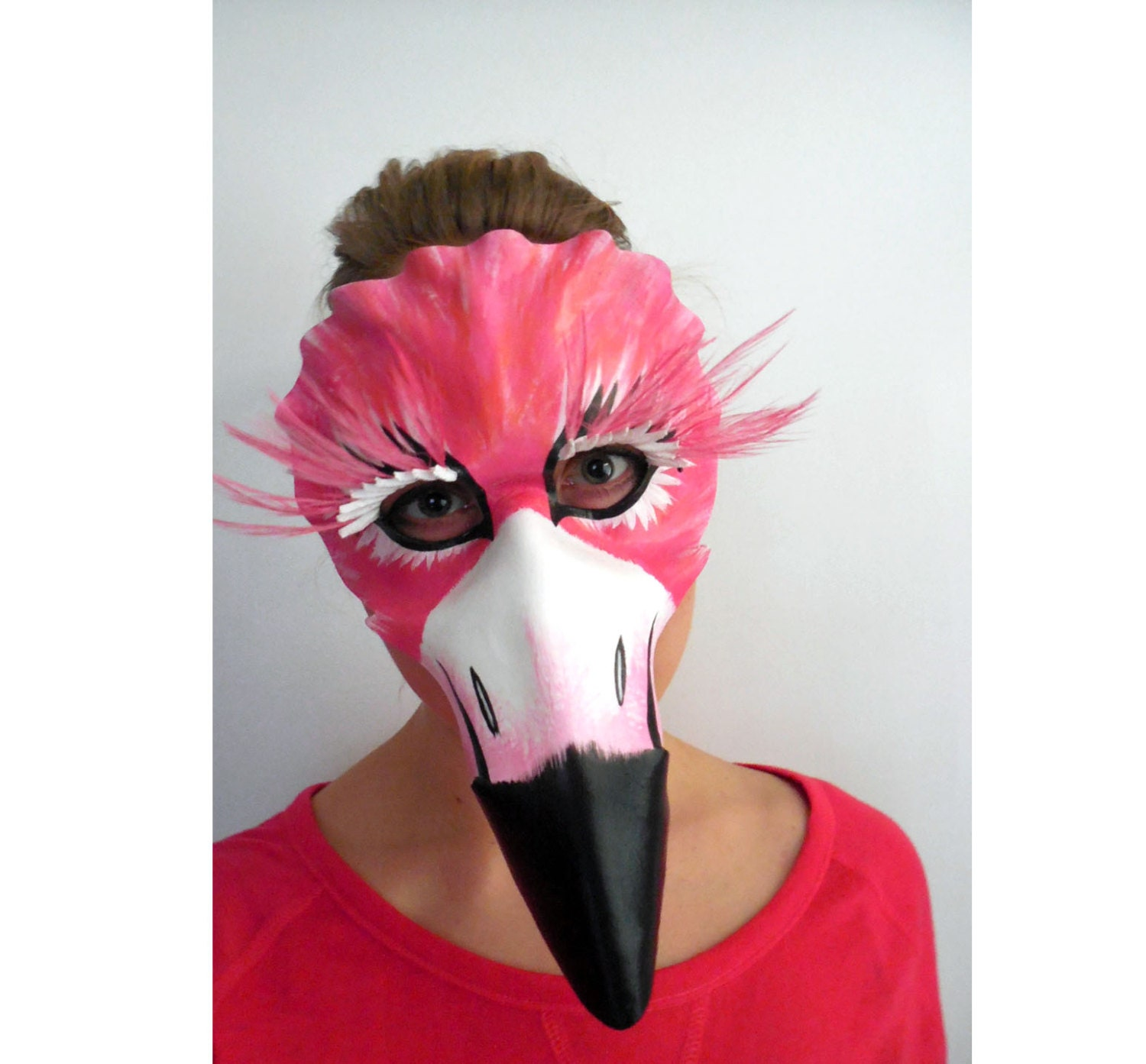 Flamingo Mask Feather Leather Masquerade Costume