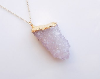 Amethyst Spirit Quartz Druzy Necklace - Cactus Quartz - Best Selling Jewelry