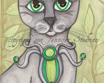Cat art, grey tabby feline, big eyes, gray kitty, green sage
