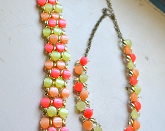 1960s Neon Thermoset Bracelet and Necklace Set