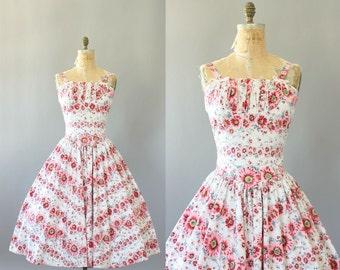 Vintage 50s Dress/ 1950s Cotton Dress/ Pink & Lime Green Floral Border Print Dress w/ Drop Waist M/L