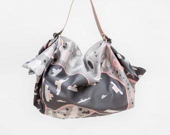 Stockholm Grey Furoshiki & Tan Leather Carry Strap Set