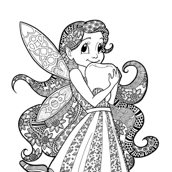 Items similar to TOOTH FAIRY Coloring Page Zentangle Line Art Decorative Doodle Illustration ...