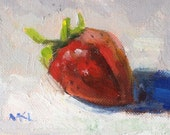 ACEO Original Oil Painting, Strawberry, Kitchen Decor, Food Art