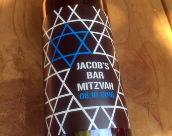 Bar Mitzvah Wine Labels, Bat Mitzvah, Bar Mitzvah Sticker, Bar Mitzvah Label, Table Number, Jewish, Birthday, Custom, Personalized, Decor