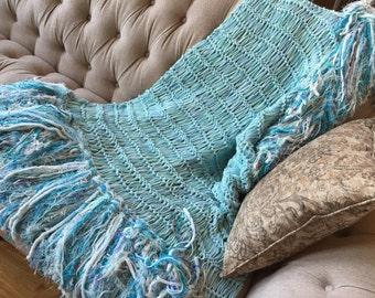 Aqua Grey Bedding, Teal Gray Nursery Afghan, Aqua Gray Nursery Throw Blanket for Nursing Little Boy Room or Girl Blue, Turquoise, Grey
