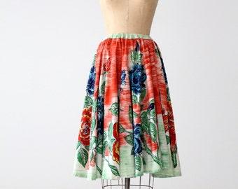 vintage 50s watercolor print circle skirt