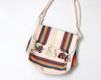 1980s striped woven cotton shoulder bag, vintage beach bag