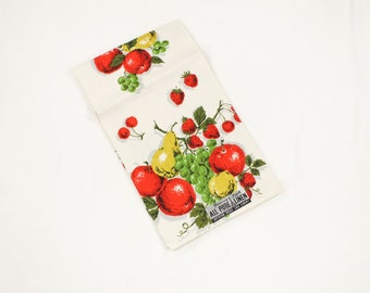 Vintage Towel Fruit Salad - Cherry, Grape, Strawberry, Apple, Pear - Bold Reds and Greens - Linen MWT Mint Unused Parisian Prints Unused NOS
