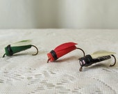 Vintage Bass Bugs Fishing Lures  Hand Tied Lure Collection Bass Lure Bugs Set of Three Gift For Dad Vintage 1980s