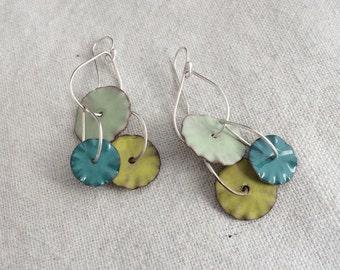 Calder 1 Enamel Earrings in Shades of Green & Blue