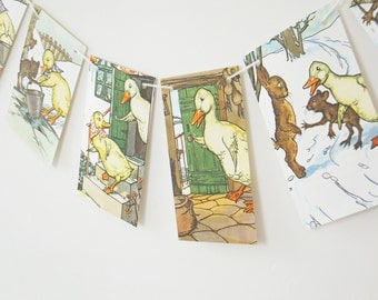 Children's Bunting, Downy Duckling Bunting, Paper Garland, Paper Banner, Playroom Decor, Party Decoration