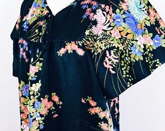 70s Asian print Hawaiian Caftan Dress with fluttery sleeves /small