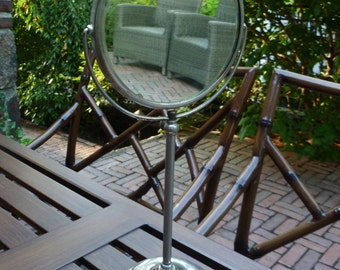 Standing Shaving Mirror. Chrome, Metal. Apollo. Vintage Antique 1920s. Makeup Mirror, Magnifying, Swivel. Bathroom, Bedroom Decor.