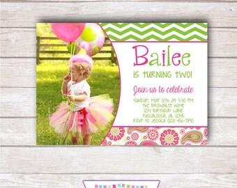 PAISLEY AND CHEVRON - Photo Birthday Party Invitation - Printable