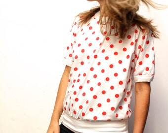 90s vintage POLKA DOT red & white short sleeve shirt