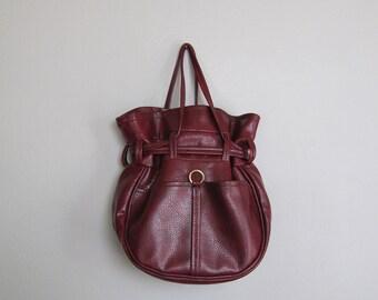 Vintage 1970s Oxblood Bucket Bag. 70s 70's Red Purse. Oxblood Red Bag
