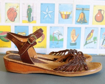 Vintage 1980's Rustic Brazilian Leather Strappy Summer Sandals - Size US 8.5