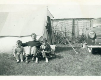 """Vintage Photo """"Camping With Dad"""" Camp Outdoor Tent Snapshot Photo Old Antique Photo Black & White Photograph Found Photo Paper Ephemera - 01"""