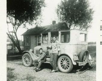 "Vintage Photo ""Road Trip Mobile"" Auto Classic Car Children Snapshot Old Antique Black & White Photograph Found Photo Paper Ephemera - 123"