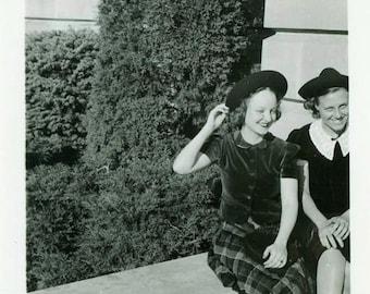"Vintage Photo ""Chatting About Boys"" Girls Hat Snapshot Photo Old Antique Photo Black & White Photograph Found Paper Ephemera Vernacular - 59"