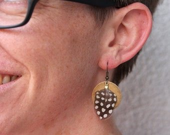 Brass Coin and Guinea Hen Feather Earrings
