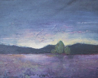 """Original oil landscape painting - Lavender Dawn - small oil painting - canvas board 5""""x7"""""""