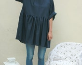 Navy viscose baby doll, smock dress, tunic one size high quality fabric