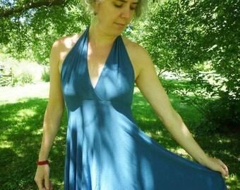 Organic Women's Clothing Halter Dress Organic Cotton Bamboo Bridesmaid Dress Blue Empire Waist Custom Handmade Summer Choose Your Color