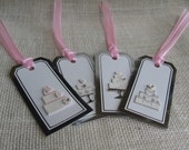 Wedding Cake Gift Tags Set of FOUR Wedding Cake on Silver and White Tags Wedding Gift Tags SnowNoseCrafts