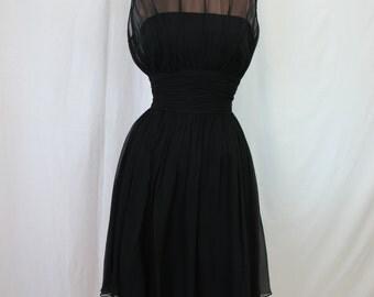 1950s Ceil Chapman Black Silk Chiffon Party Dress