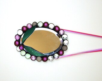 Springtime Oval Beveled Stained Glass Mirror with Pink and Rose Nuggets